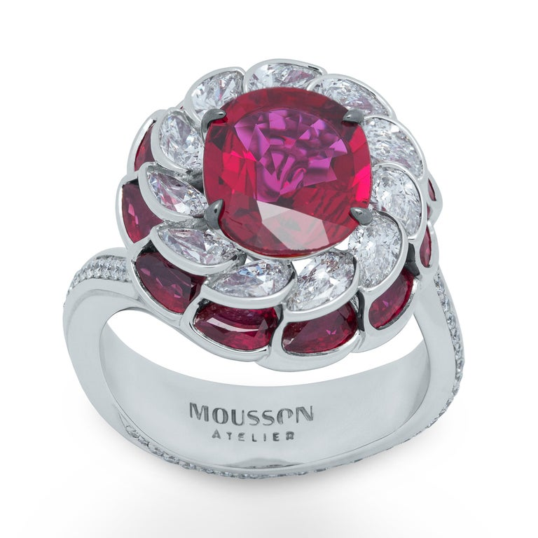 GRS Certified 2,98 Carat Ruby Diamond 18 Karat White Gold Ring We bring to your attention our new Ring from the