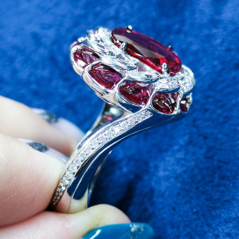 Oval Cut GRS Certified 2.98 Carat Ruby Diamond 18 Karat White Gold Ring For Sale