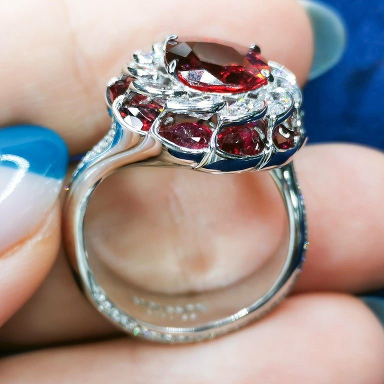 GRS Certified 2.98 Carat Ruby Diamond 18 Karat White Gold Ring In New Condition For Sale In Bangkok, TH