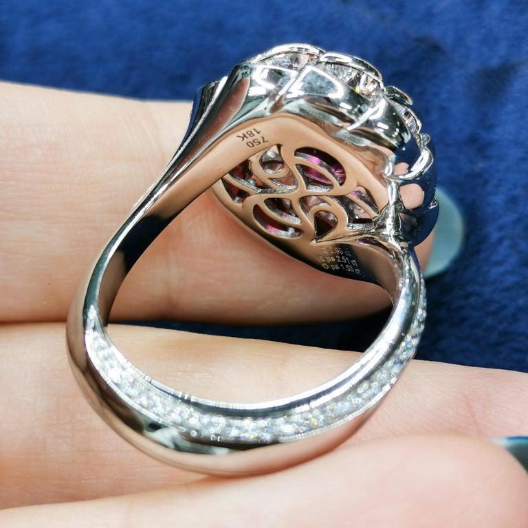 Women's GRS Certified 2.98 Carat Ruby Diamond 18 Karat White Gold Ring For Sale