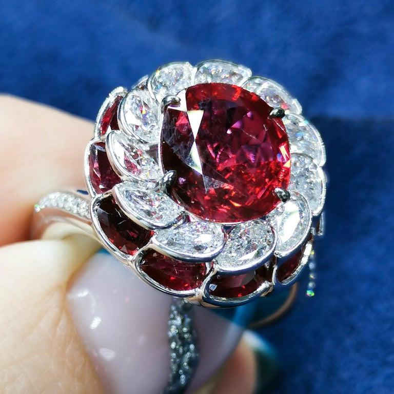 GRS Certified 2.98 Carat Ruby Diamond 18 Karat White Gold Ring For Sale 1