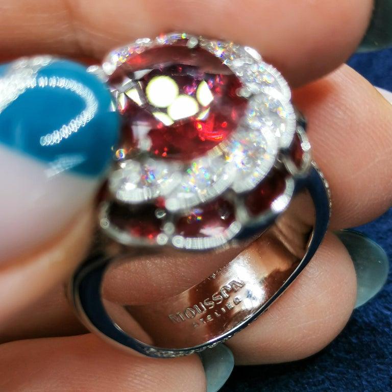 GRS Certified 2.98 Carat Ruby Diamond 18 Karat White Gold Ring For Sale 2
