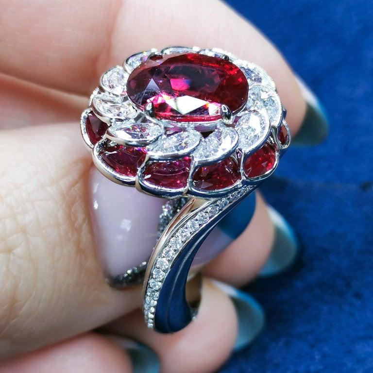 GRS Certified 2.98 Carat Ruby Diamond 18 Karat White Gold Ring For Sale 3
