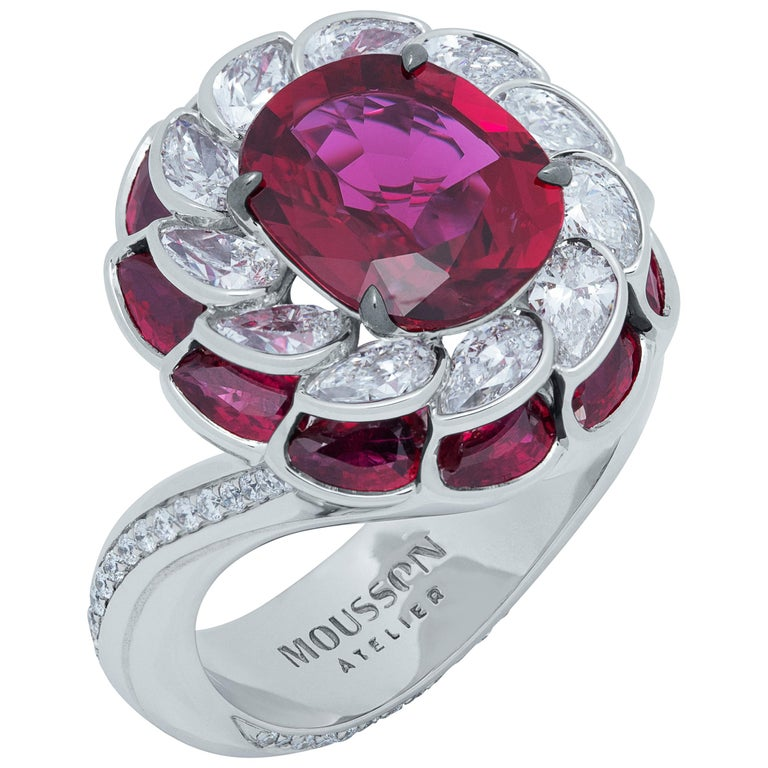 GRS Certified 2.98 Carat Ruby Diamond 18 Karat White Gold Ring For Sale