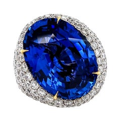 GRS Certified 29.83 Carat Oval Sapphire Diamond Cocktail Ring