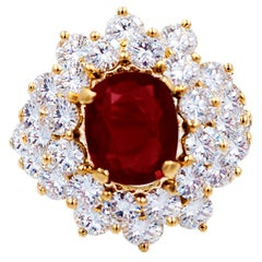 GRS Certified 3.01 Carat Ruby Diamond Cocktail Ring