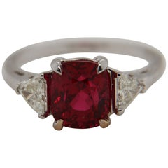 GRS Certified 3.04 Carat Burmese Spinel and Diamond Ring