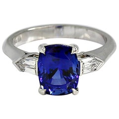 GRS Certified 3.48 Carat Cushion Royal Blue Sapphire and Diamond Ring