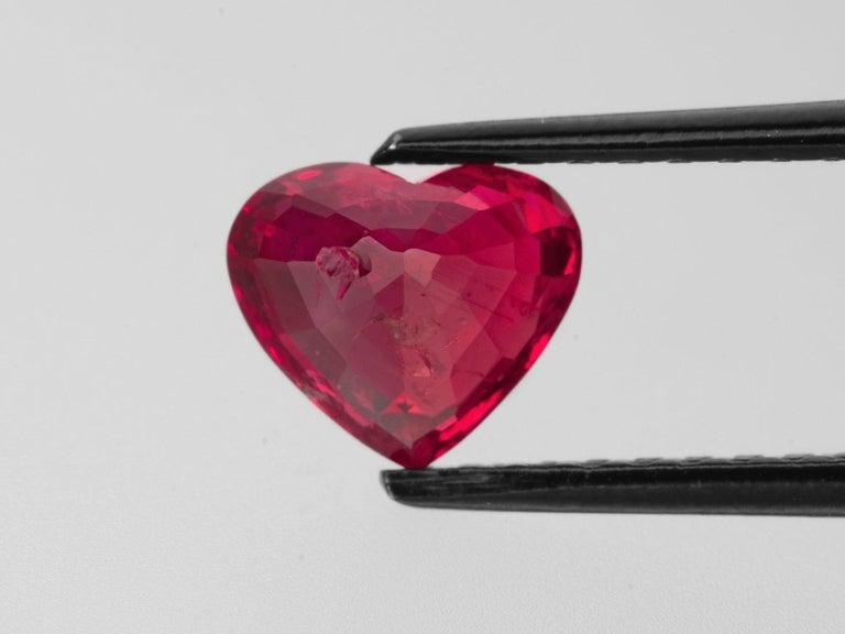 Heart Cut GRS Certified 3.50 Carat Heart Shape Vivid Red Ruby Diamond Ring For Sale