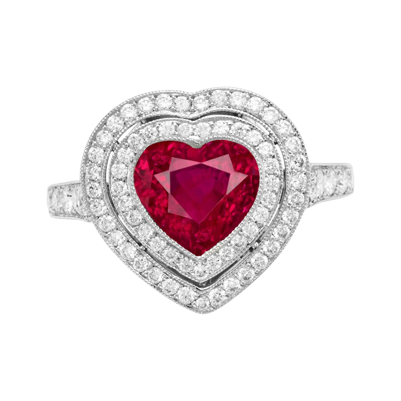 GRS Certified 3.50 Carat Heart Shape Vivid Red Ruby Diamond Ring