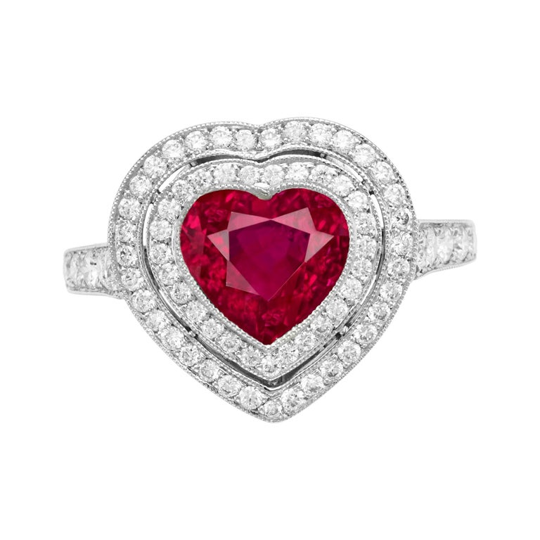 GRS Certified 3.50 Carat Heart Shape Vivid Red Ruby Diamond Ring For Sale