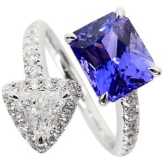 GRS Certified 3.54 Carat Ceylon No Heat Violet Sapphire & Diamond Cocktail Ring