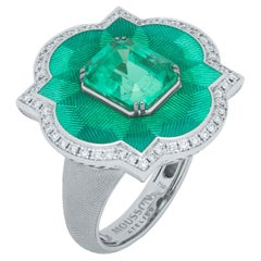 GRS Certified 3.55 Columbian Emerald Diamond Enamel 18 Karat Gold Cocktail Ring