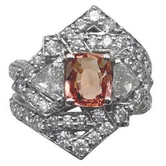 GRS Certified 3.59 Ct Padparadscha Sapphire Diamonds Cocktail Ring