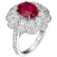 GRS Certified 3.80 Carat Oval Burma Ruby Diamond 18 Karat Gold Cocktail Ring