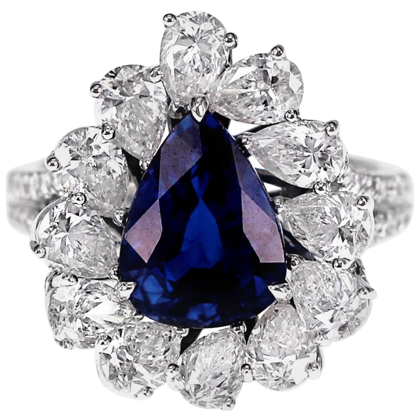 GRS Certified 4.02 Carat Vivid Blue Natural Sapphire and Diamond Solitaire Ring