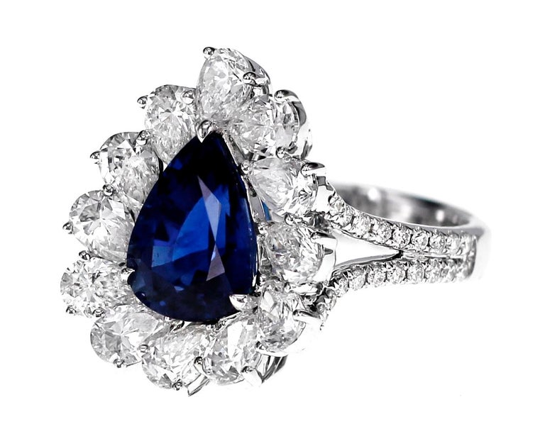 Globally the best color for blue Sapphire is called Royal blue. It is a medium to dark tone blue with lots of saturation. This creates a beautiful deep vivid blue Sapphire that is highly sought after. Certified by GRS Lab of Switzerland, the stone