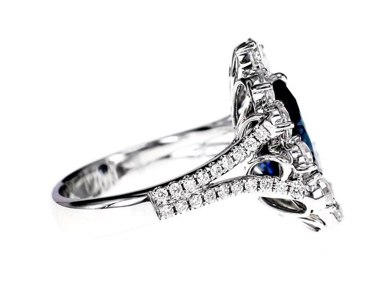 Art Nouveau GRS Certified 4.02 Carat Vivid Blue Natural Sapphire and Diamond Solitaire Ring For Sale