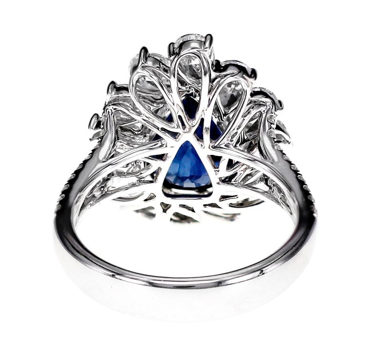 Pear Cut GRS Certified 4.02 Carat Vivid Blue Natural Sapphire and Diamond Solitaire Ring For Sale