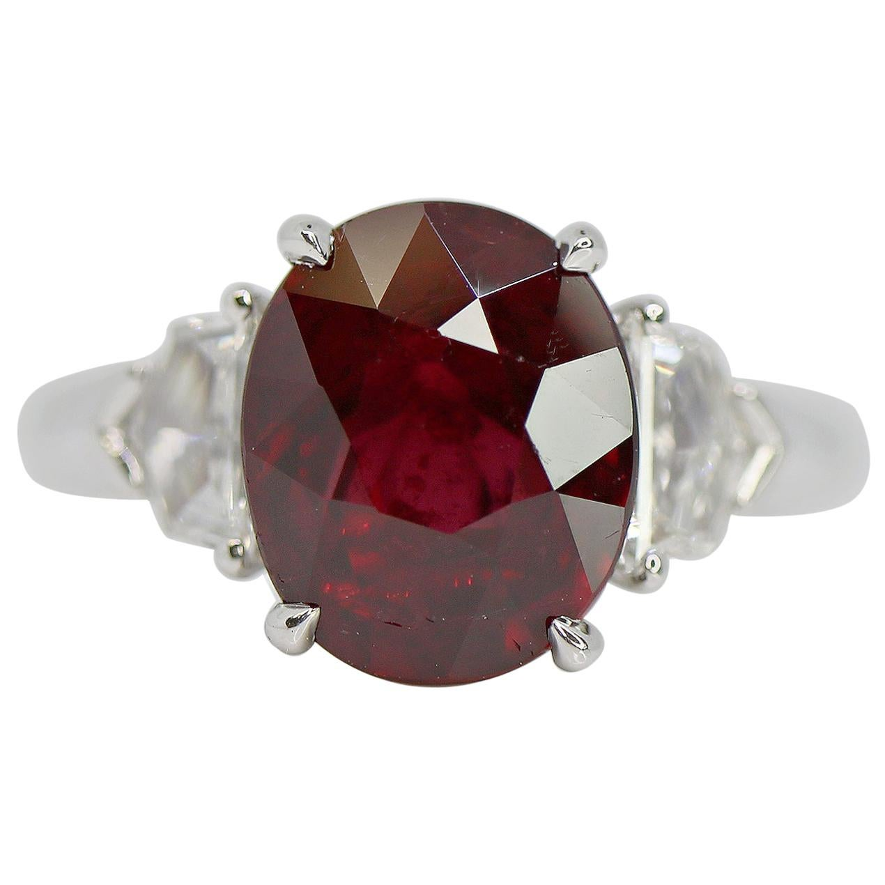 GRS Certified 4.04 Carat Oval Vivid Red Ruby and Diamond Ring