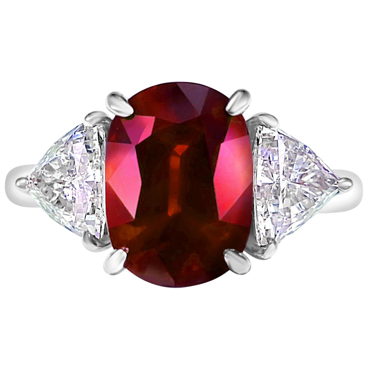 GRS Certified 4.26 Carat Vivid Red Ruby and Diamond Solitaire Ring