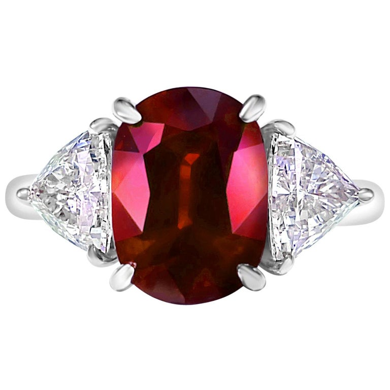 GRS Certified 4.26 Carat Vivid Red Ruby and Diamond Solitaire Ring For Sale