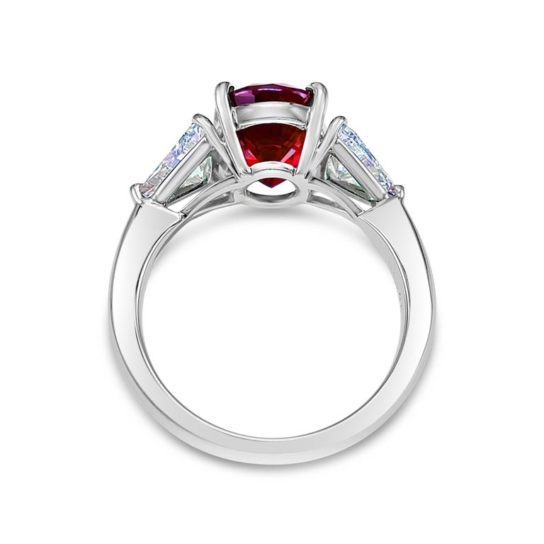 Oval Cut GRS Certified 4.26 Carat Vivid Red Ruby and Diamond Solitaire Ring For Sale