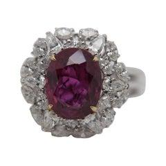 GRS Certified 4.61 Carat Thai Ruby No Heat and Diamond Ring in 18 Karat Gold
