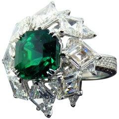 GRS Certified 4.80 Carat Muzo Emerald and Diamond Ring in 18 Karat White Gold