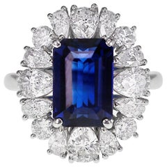 GRS Certified 4.95 Carat Vivid Blue No Heat Sapphire and Diamond Solitaire Ring