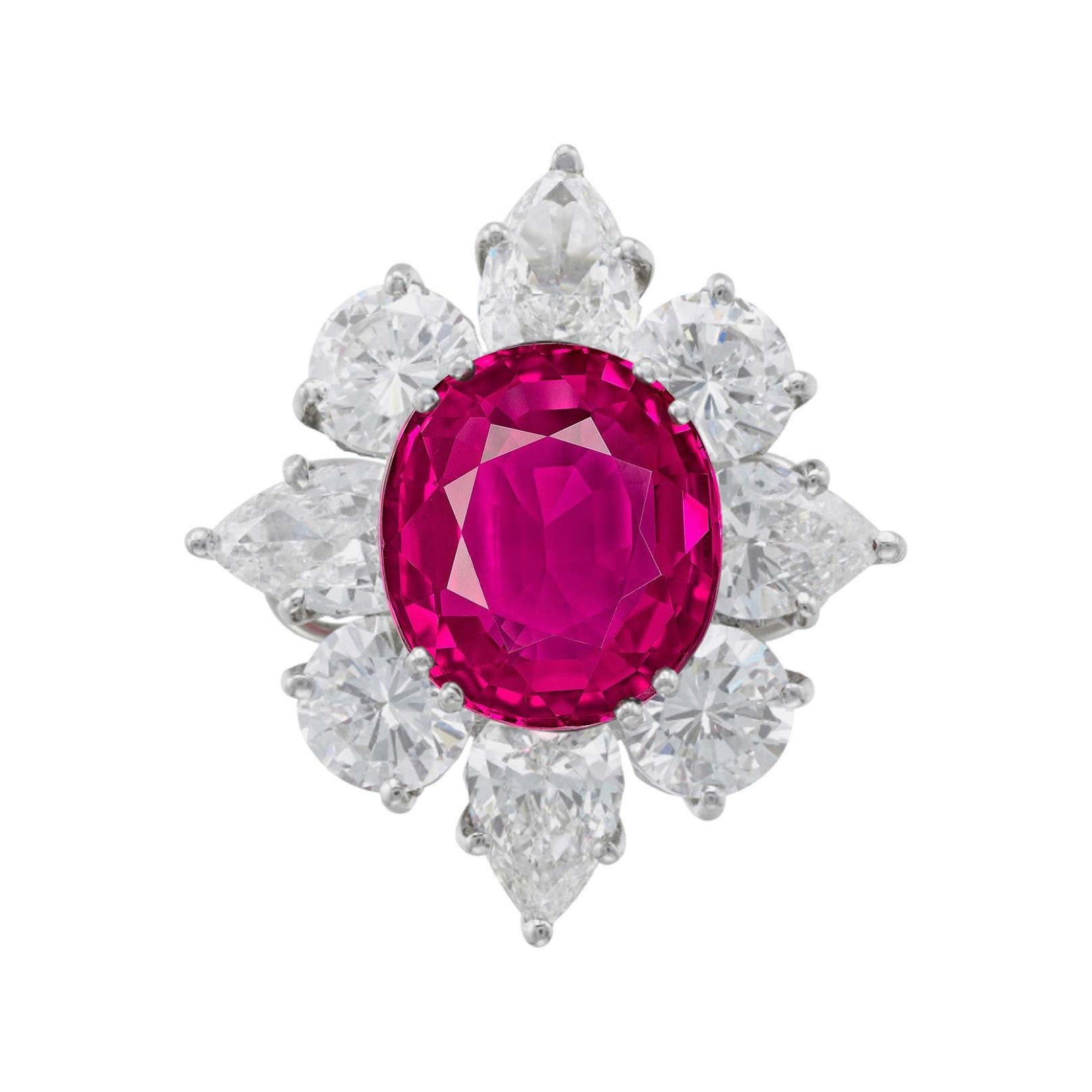 GRS Certified 3.80 Carat Burma Oval Ruby Pear and Round Diamond Cocktail Ring