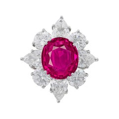 GRS Certified 5 Carat Burma Oval Ruby Pear and Round Diamond Cocktail Ring