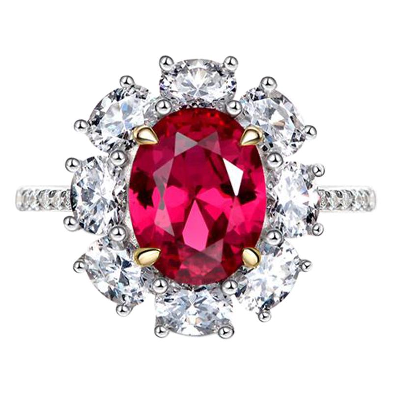GRS Certified 5 Carat Oval Peagon's Blood Ruby Diamond Ring