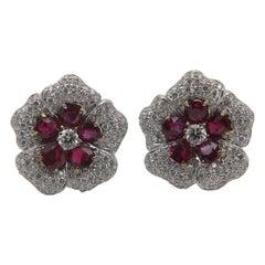 GRS Certified 5.04 Carat Ruby and Diamond 18 Karat Gold Earring