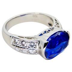 GRS Certified 5.22 Carat Ceylon Royal Blue Sapphire & Diamond Cocktail Ring