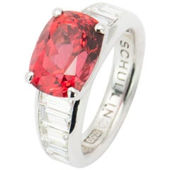 GRS Certified 5.30 Carat Neon Reddish-Orange Spinel Ring