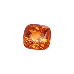 GRS Certified 5,57 Carats Orange Cushion Shape Sapphire