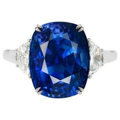 GRS Certified 5.60 Carat Vivid Intense Blue Sri-Lanka Sapphire Ring