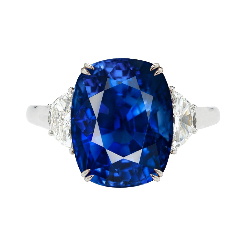 GRS Certified 5 Carat Vivid Intense Blue Sri-Lanka Sapphire Ring