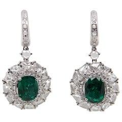 GRS Certified 5.87 Zambian Emerald and Diamond Dangling Earring