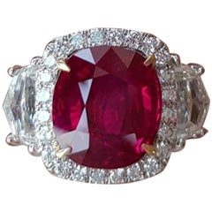 GRS Certified Burmese 5 Carat Natural No Heat Ruby Diamond Ring