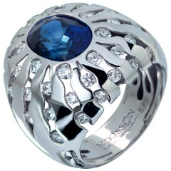 GRS Certified 6.03 Carat Royal Blue Sapphire Diamonds 18 Karat White Gold Ring