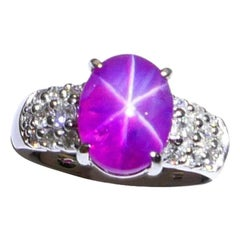 GRS Certified 6.1 Carat Natural Pinkish-Red Star Ruby Diamond Ring, Strong Star
