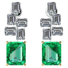 GRS Certified 6.12 Carat Colombian Emerald 4 Carat Diamond Emeralds Earrings