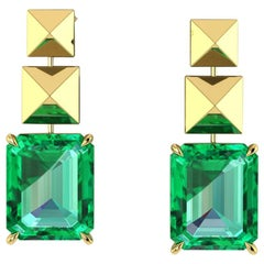 GRS Certified 6.12 Carat Colombian Emerald Pyramid Dangling Earrings in 18K Gold