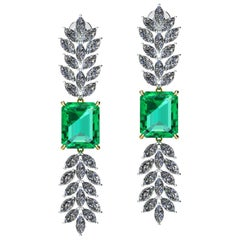 GRS Certified 6.12 Carat Emeralds 2.5 Carat Marquise Diamonds Dangling Earrings