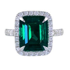 GRS Certified 6.14 Carat Emerald White Gold Cocktail Ring
