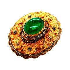 GRS Certified 6.25 Carat Colombian Emerald Brooch