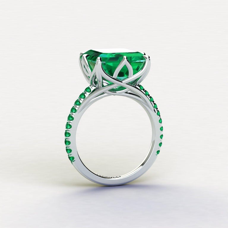 GRS Certified 6.31 carat Colombian emerald cut Emerald ring, very high quality color,  embellished by a pave' of bright green emeralds of approximately  a total carat weight of 0.32 carat, set in a hand crafted Platinum 950, created with the best