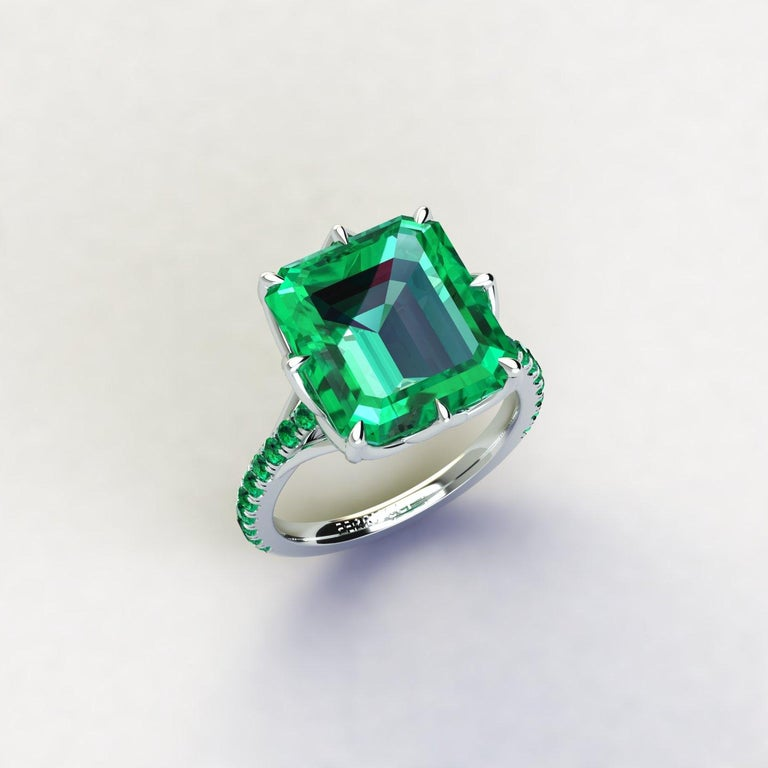 Art Nouveau GRS Certified 6.31 Carat Colombian Emerald in Platinum 950 Ring For Sale